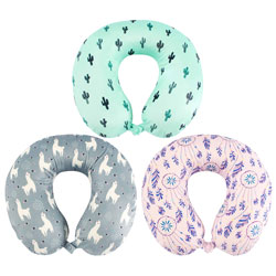 Memory Foam Fun Print Neck Pillow Assortment BCOFUNTP