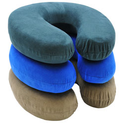 Neck Support Pillow with Memory Foam  Suede/Tan RP2805
