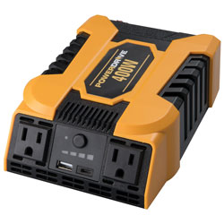 400 Watt Power Inverter with 2 AC  USB 2.4A and USB-C(TM) 3.0A P