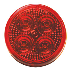 2.5 Round LED Diamond Lens Sealed Light w/2-Pin Connection Red R