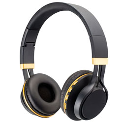 Deluxe Stereo Headphones w/Bluetooth & Mic Black/Gold BT300S