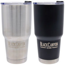 32oz. Tumbler with Flip Close Lid 6-Piece PDQ  Black & Silver BC